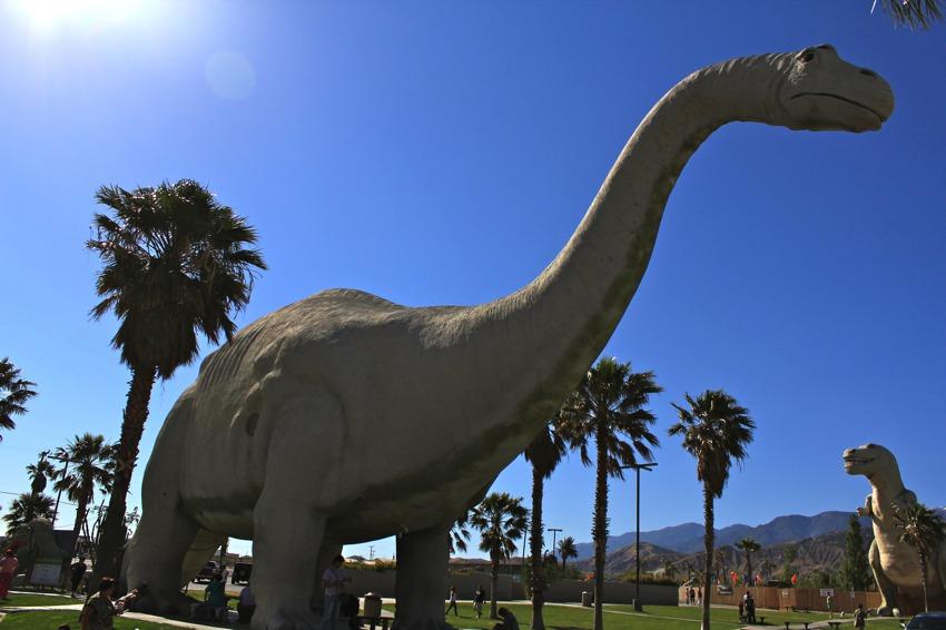 Cabazon Dinosaurs with sun