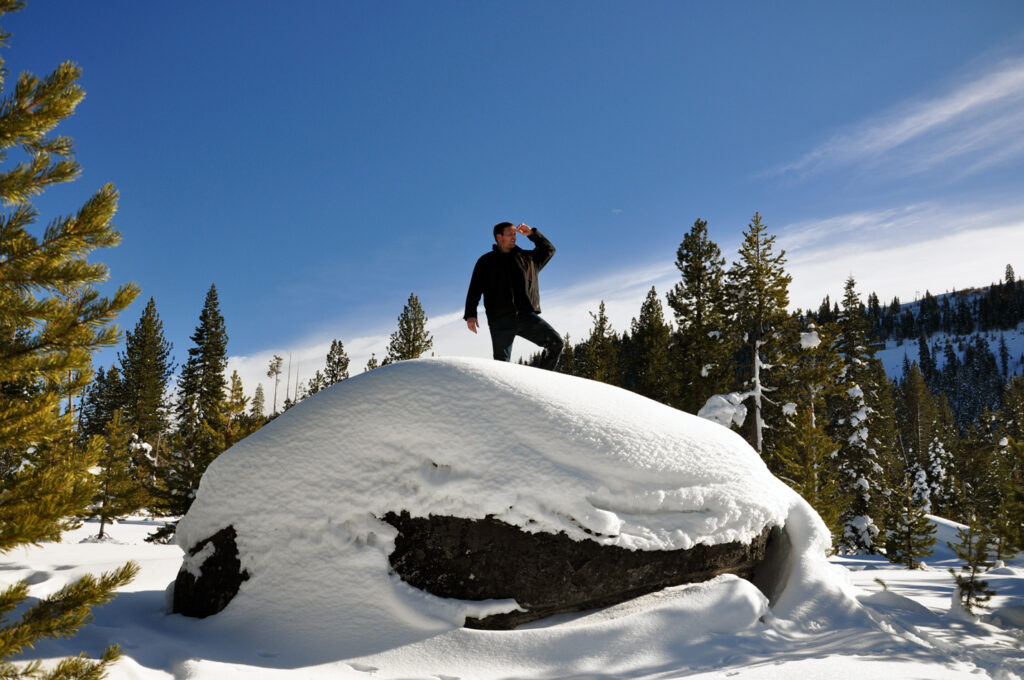 Climbing a snow bank in Truckee