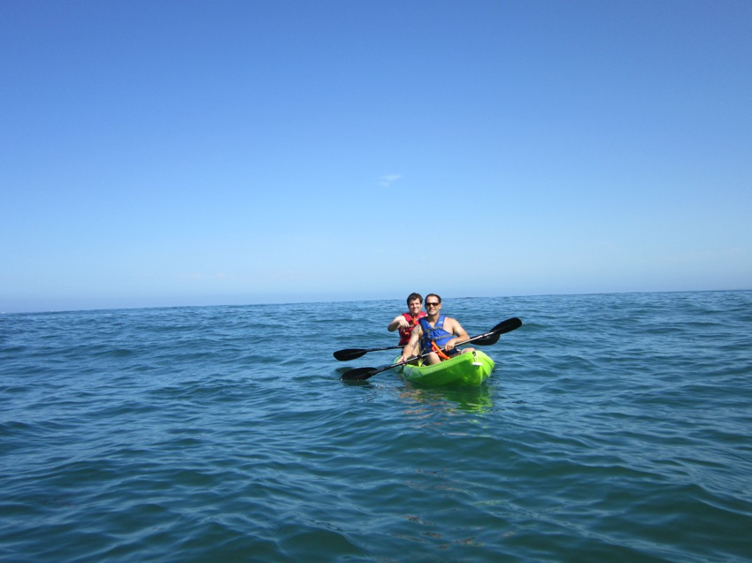 Kayaking in the open ocean