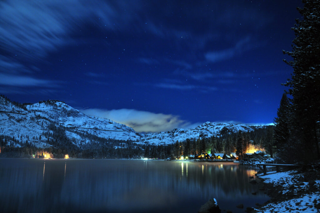 Lake tahoe city at night