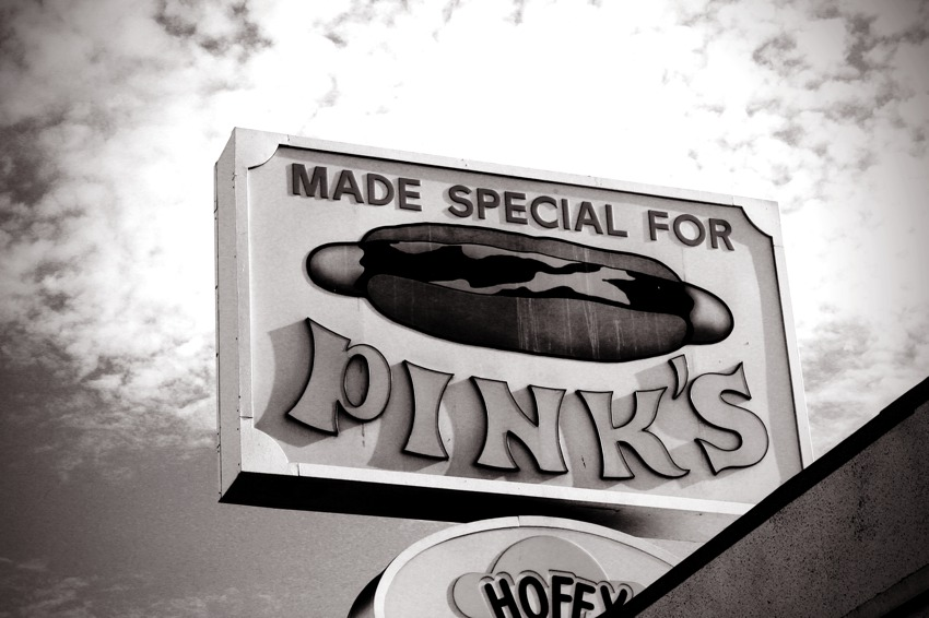 Pinks Hot Dog Sign black and white