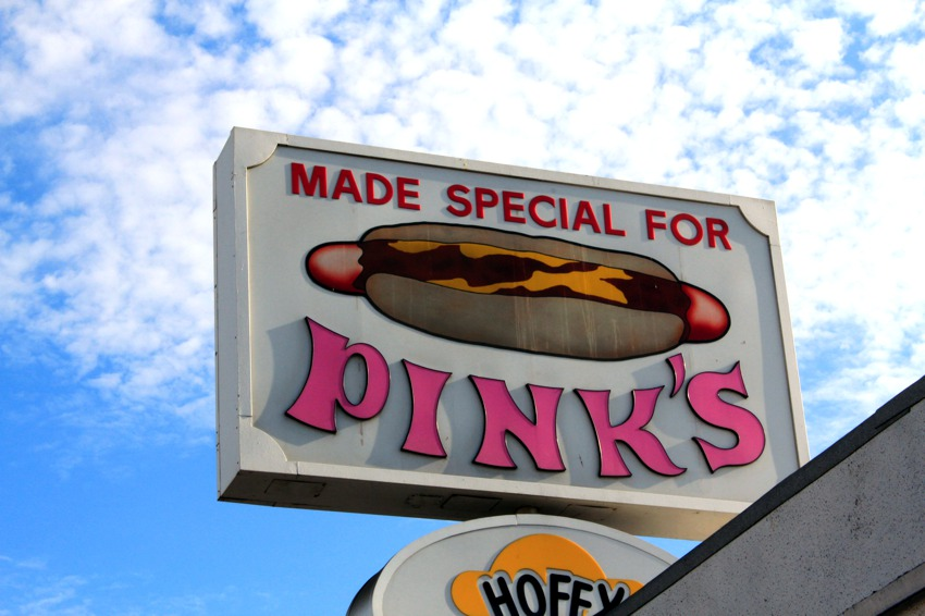 Pinks Hot Dog Sign
