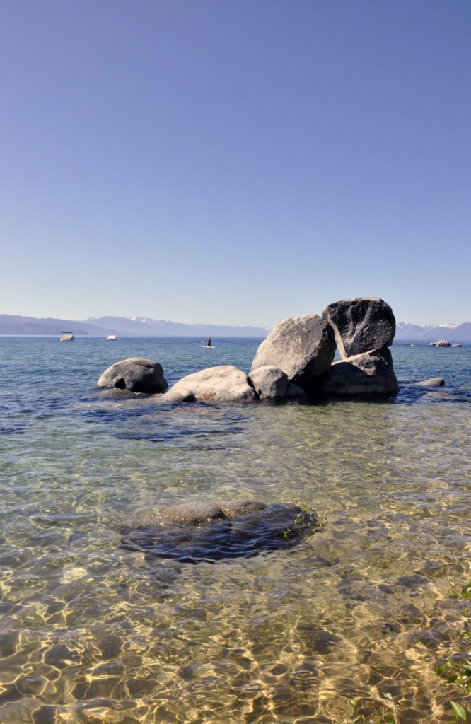 Rocks jutting from lake tahoe