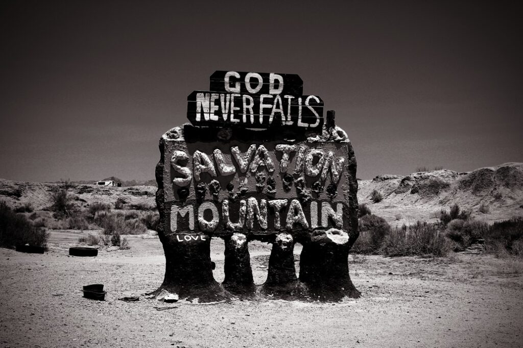Salvation mountain sign black and white