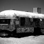 Salvation mountain trailer black and white