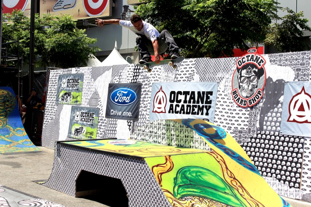 Skateboard grab over jump