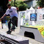 Skateboard grinding X Games