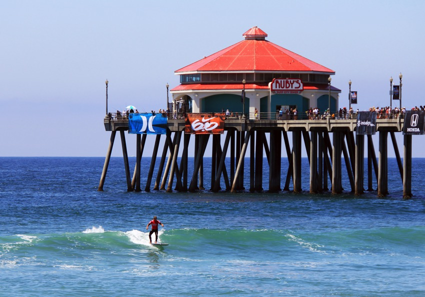 Surfing under rubys huntington beach