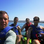 The crew kayaking