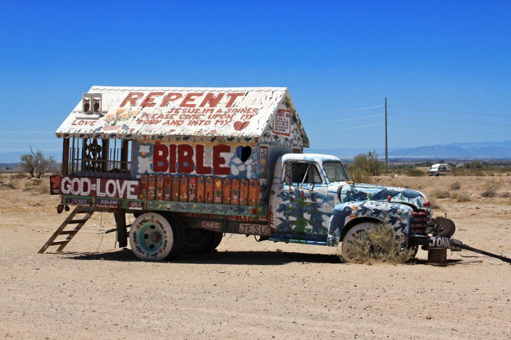 Truck at salvation mountain