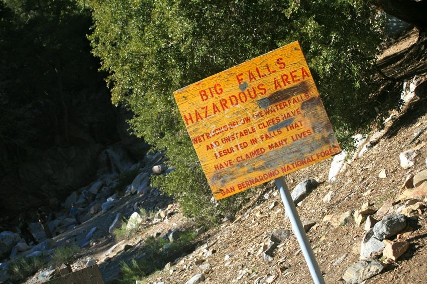 big falls hazard sign