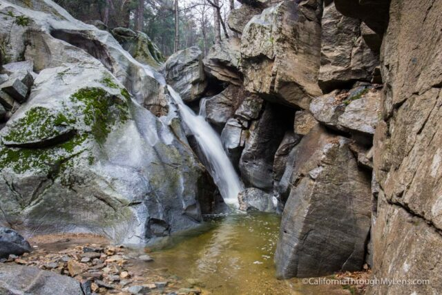 heart rock waterfall hike seely creek falls in crestline ca