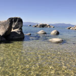 Rocks jutting out from lake tahoe coast