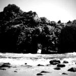 sea cave black and white pfieffer state beach