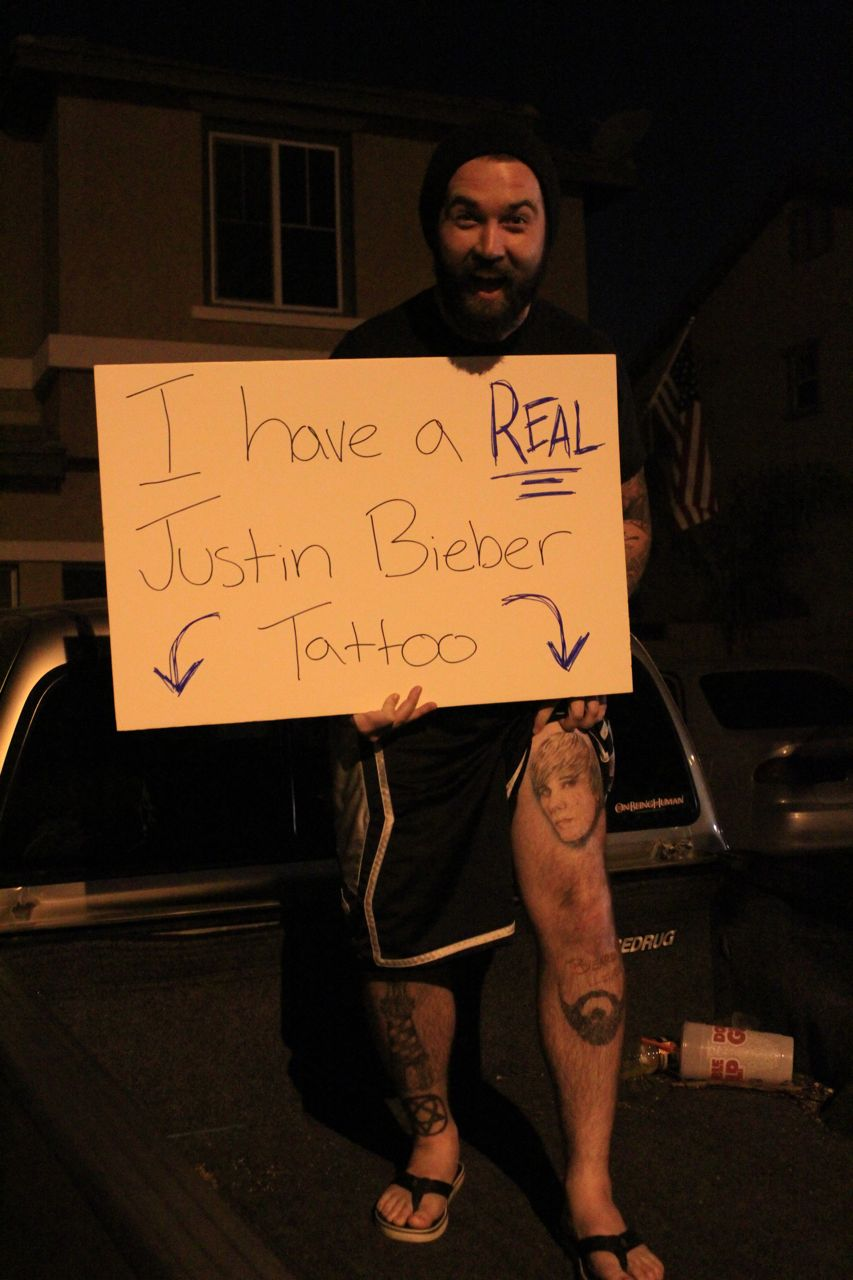 Guy with Justin Bieber Tattoo