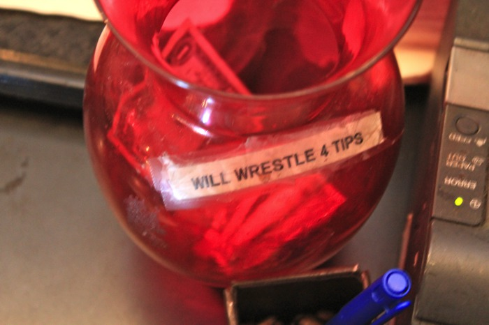 Will Wrestle for Food tip jar
