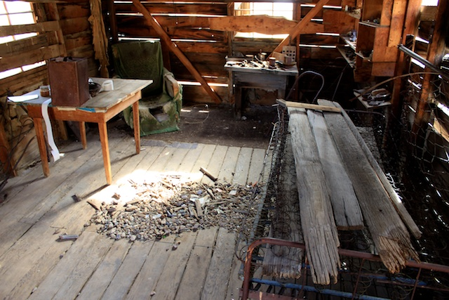 Inside an abandoned cabin
