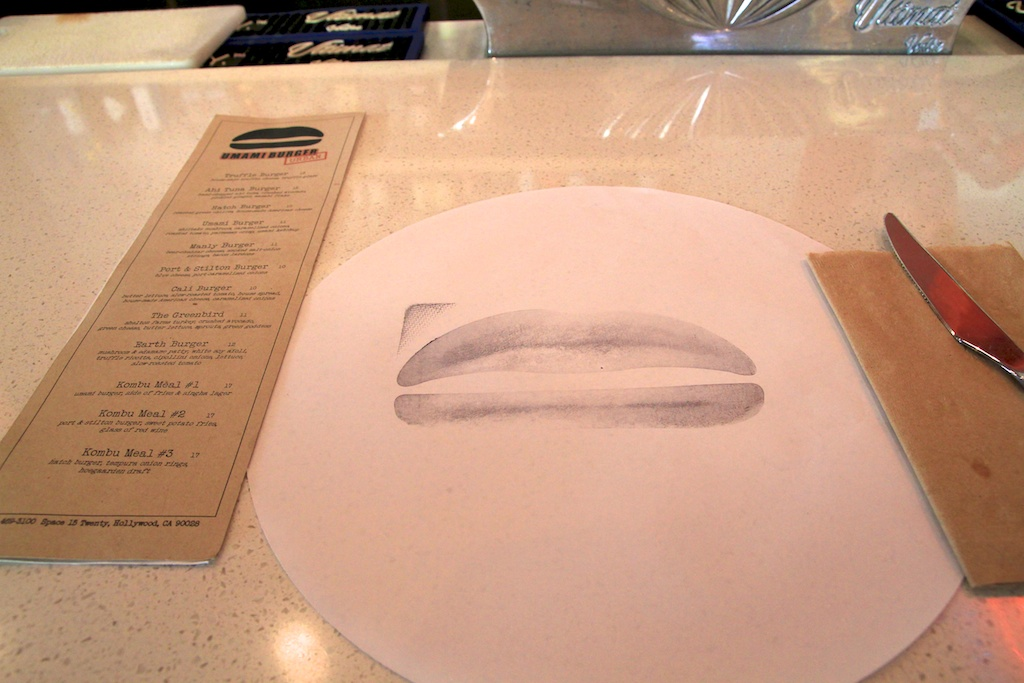 Umami burger menu and burger stamp