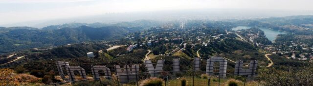 Hollywood sign panorama from above