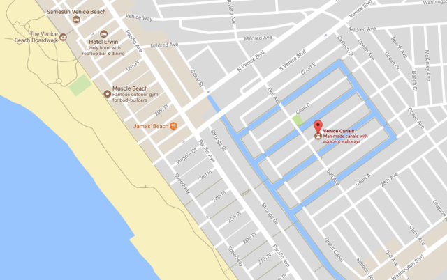 This Google Maps Image Shows Where The Cs Are Located In Venice Beach Relation To Boardwalk You Can See Them Blue