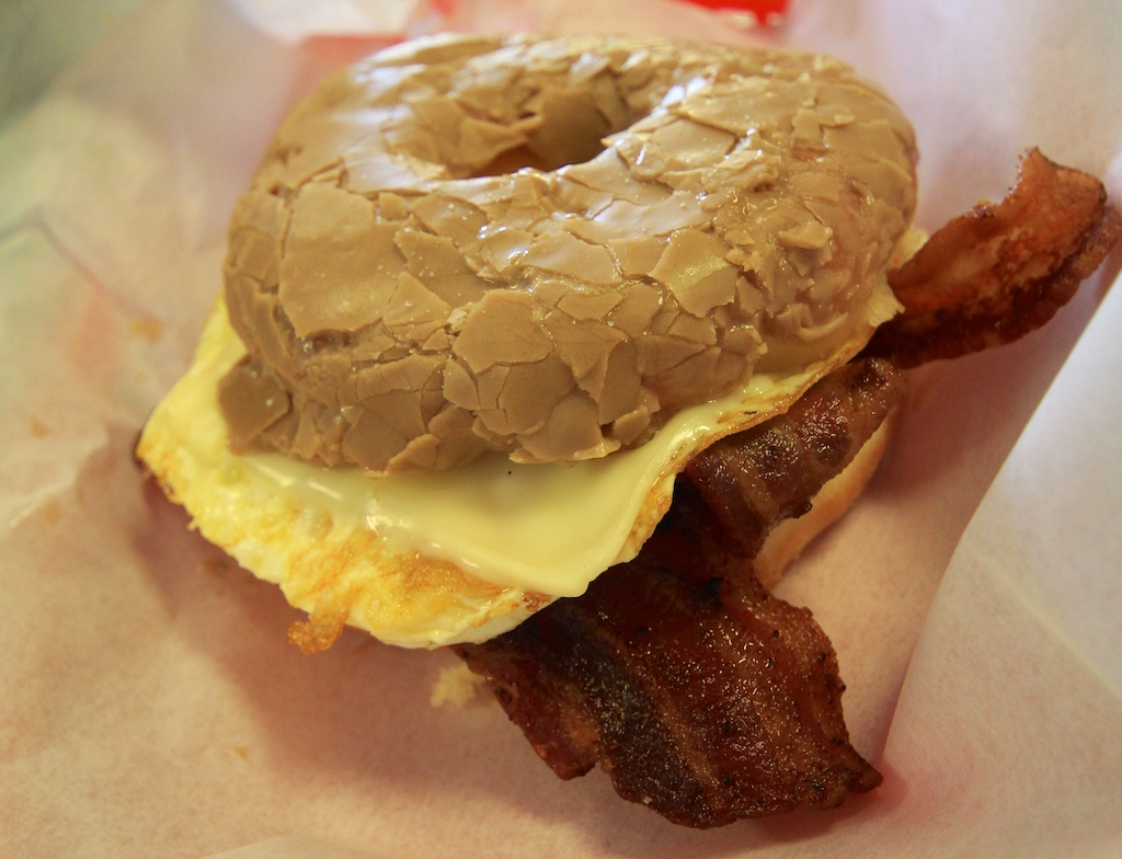 Maple Donut Breakfast Sandwitch Surfin Donuts