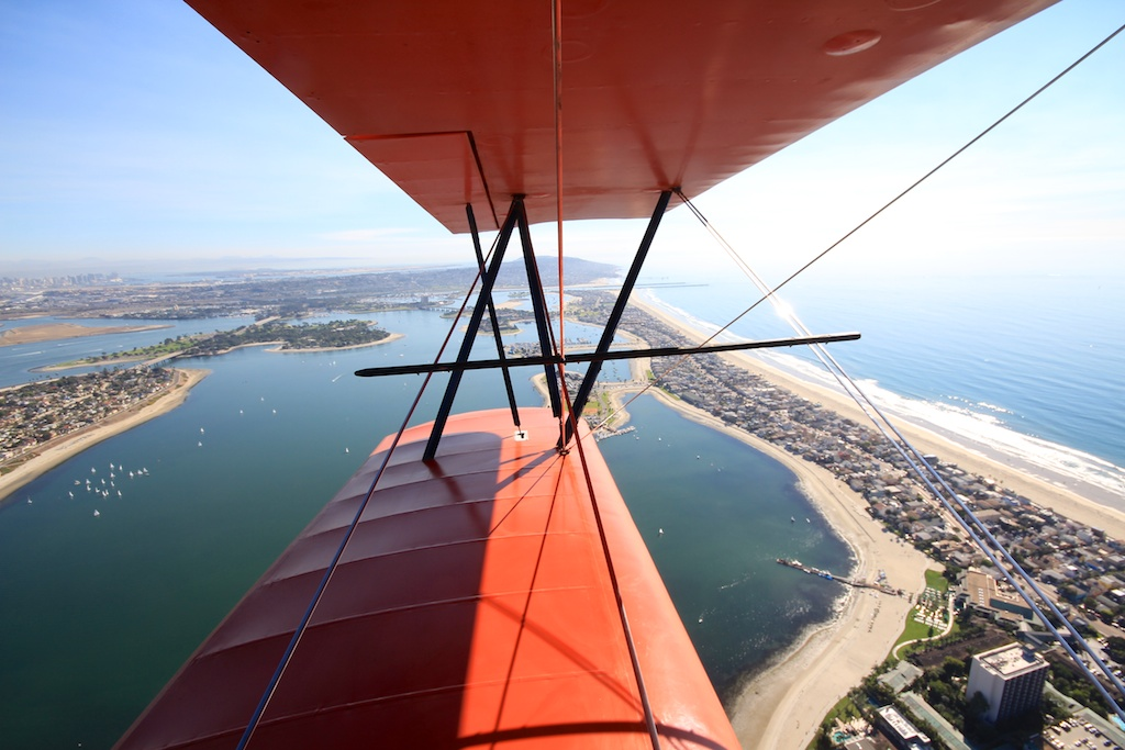 Flying in a Biplane Over La Jolla