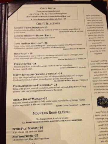 Yosemite Lodge Mountain Room Restaurant Menu