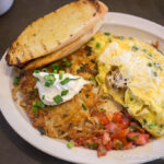 Grounds Restaurant in Murphys: Braised Chicken Omelettes and Potato Pancakes