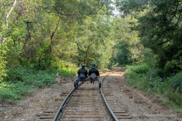 Riding the Skunk Train Railbikes in Fort Bragg - California Through